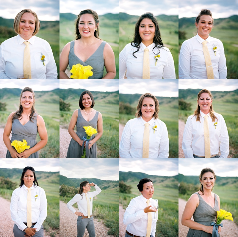 Wedding party head-shots from a wedding at The Manor House in Ken-Caryl Ranch, Colorado. Wedding photography by Sonja Salzburg of Sonja K Photography.