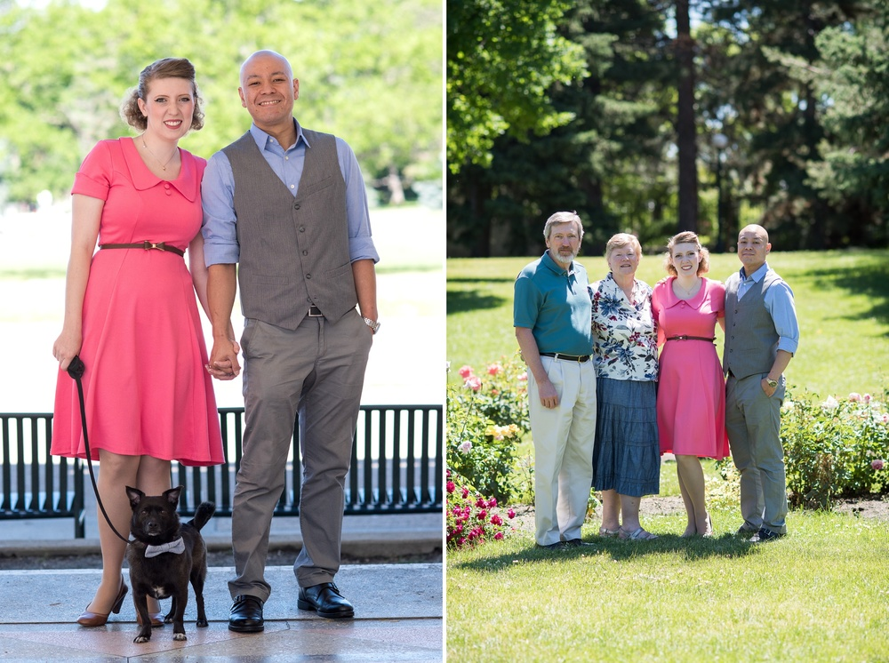 An engaged couple and her family at Cheesman Park in Denver, Colorado. Engagement photography by Sonja Salzburg of Sonja K Photography.