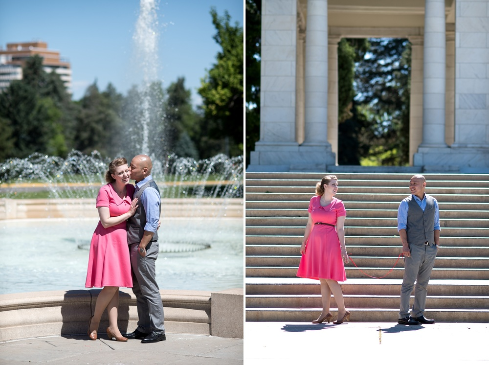 A cute engaged couple at Cheesman Park in Denver, Colorado. Engagement photography by Sonja Salzburg of Sonja K Photography.
