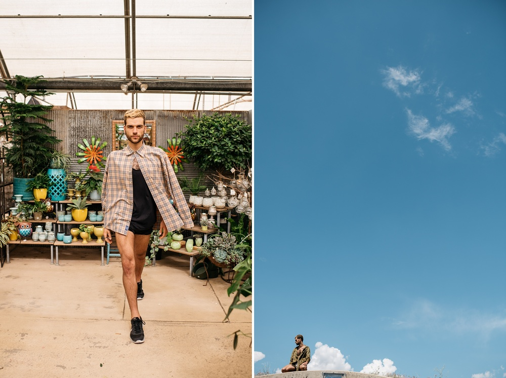 A dancer in a greenhouse and in front of a wide open sky - Photography by Sonja Salzburg of Sonja K Photography.
