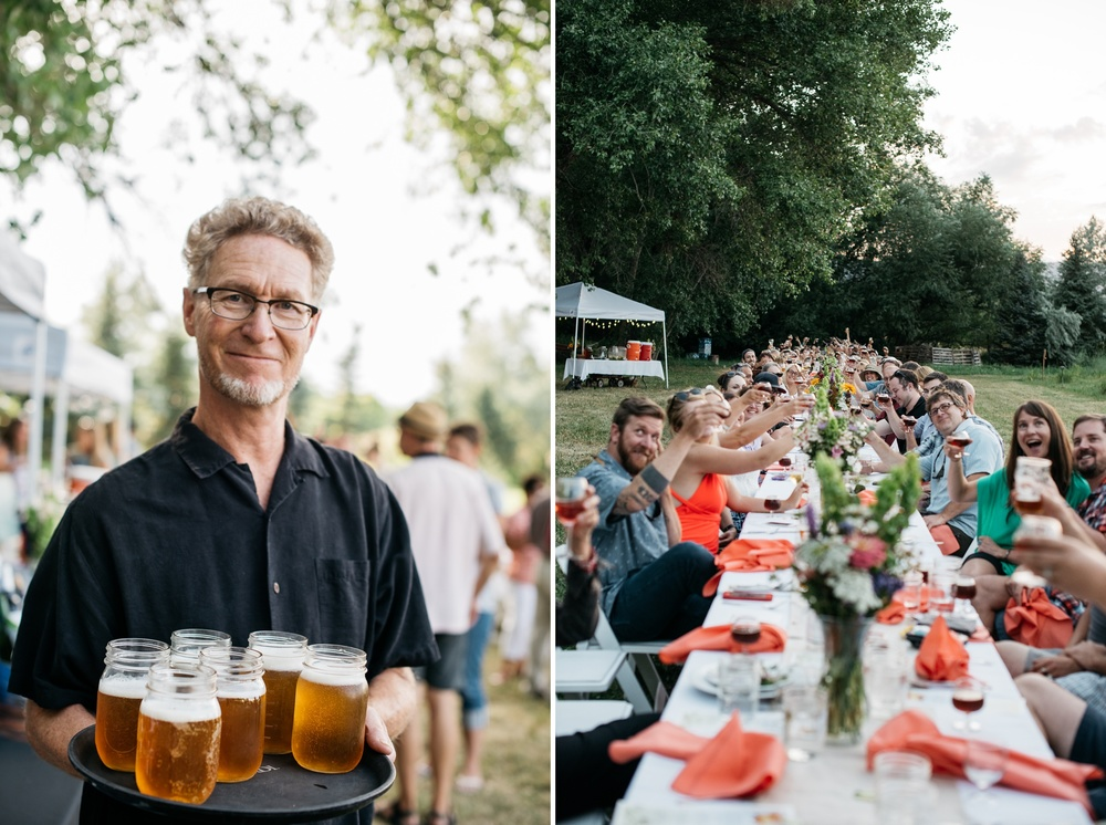 Cheers! The Fortified Collaborations Heart of Summer Farm Dinner at Happy Heart Farm in Fort Collins, Colorado. Beer by Equinox Brewing. Event photography by Sonja Salzburg of Sonja K Photography.
