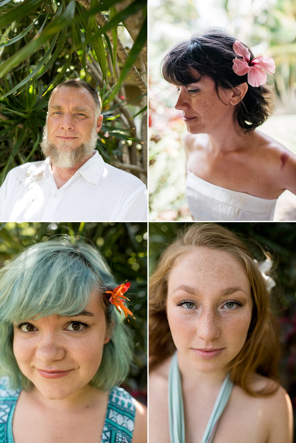 Head shots of Dan, Maarit, Gwen, and Luna in Naalehu, Hawaii. Portrait photography by Sonja Salzburg of Sonja K Photography.