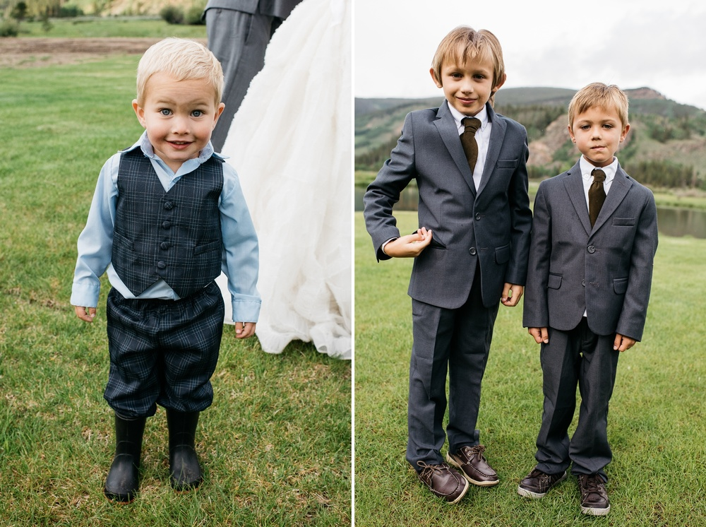 Kids at a wedding at Camp Hale near Vail, Colorado. Wedding photography by Sonja Salzburg of Sonja K Photography.