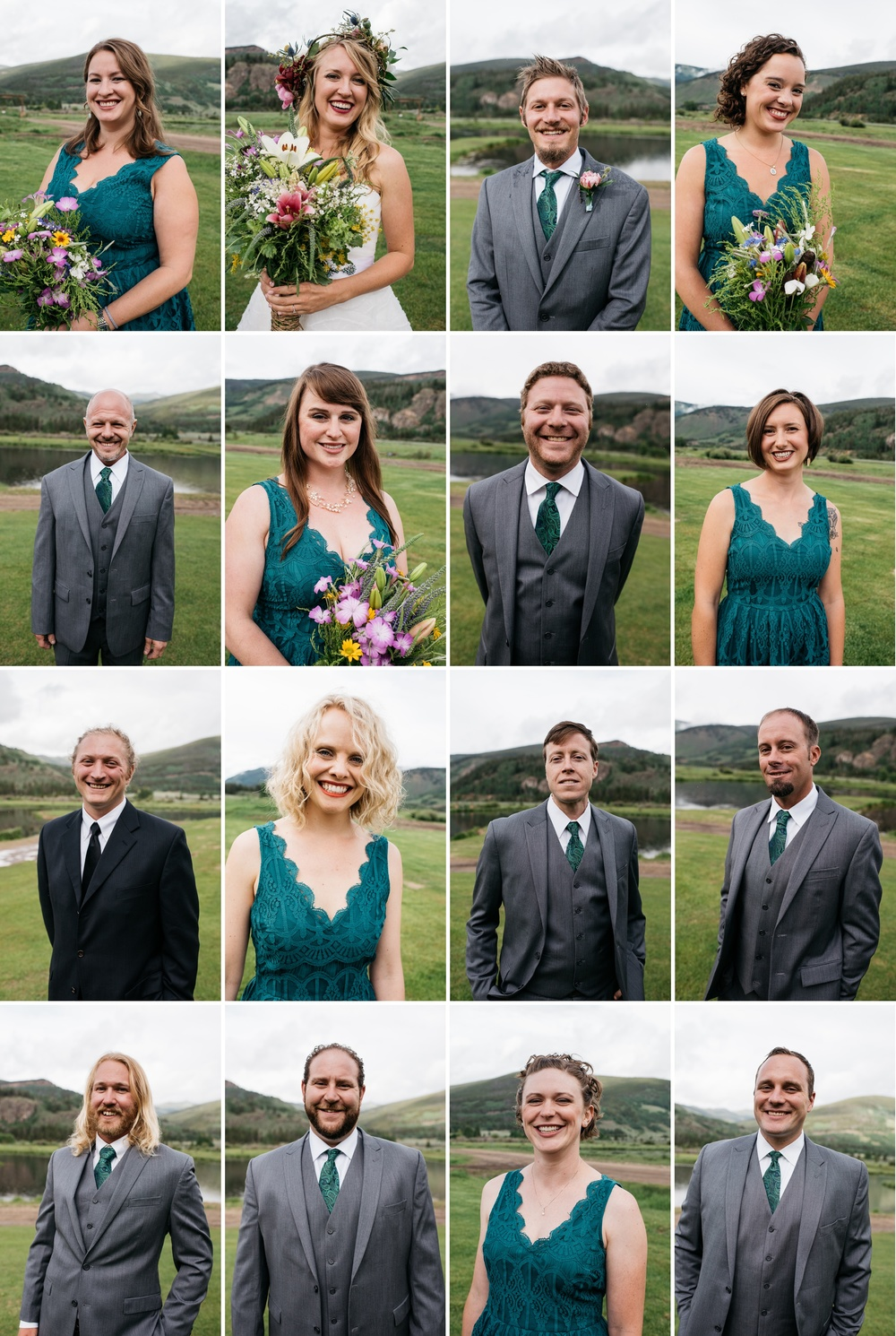 Head shots of the bridal party at a wedding at Camp Hale near Vail, Colorado. Wedding photography by Sonja Salzburg of Sonja K Photography.