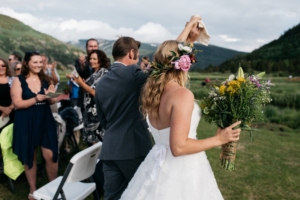 Karen and Doug are married at Camp Hale near Vail, Colorado. Wedding photography by Sonja Salzburg of Sonja K Photography.