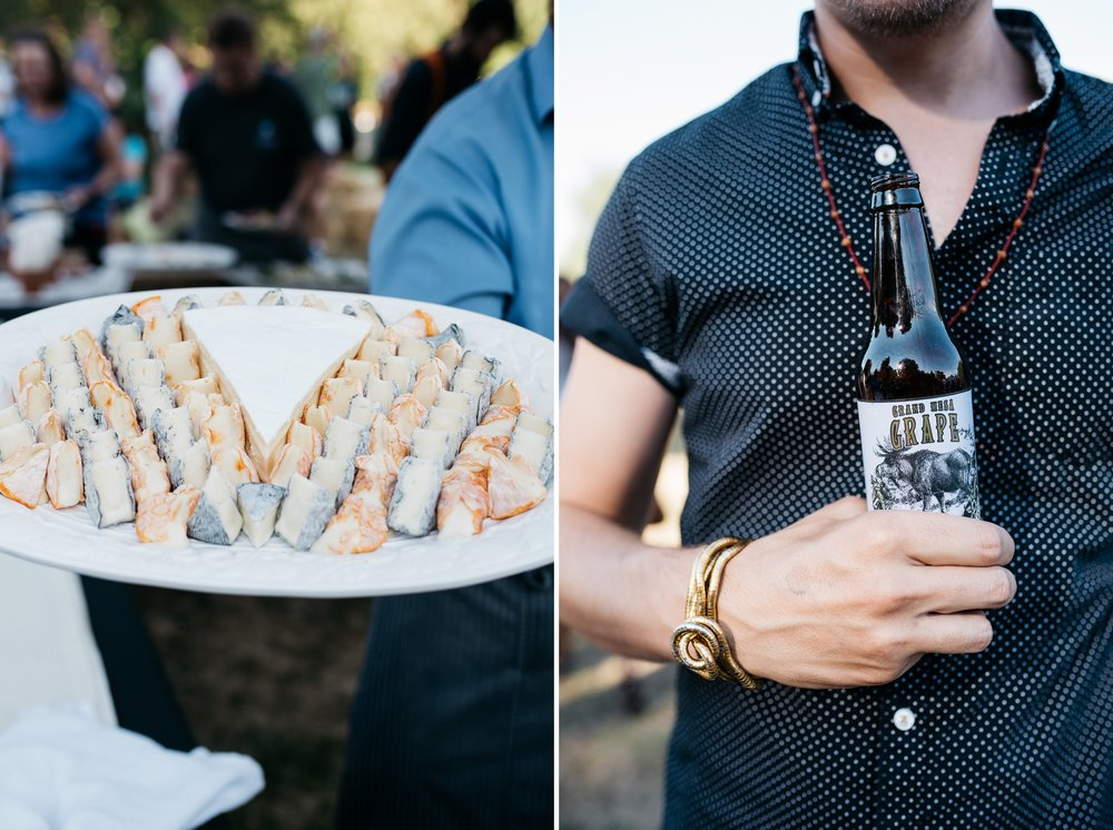 Brie from The Welsh Rabbit and grape soda from Rocky Mountain Soda Company at the second annual 3 Forks Progressive Farm Dinner by Fortified Collaborations. Event photography by Sonja Salzburg of Sonja K Photography.