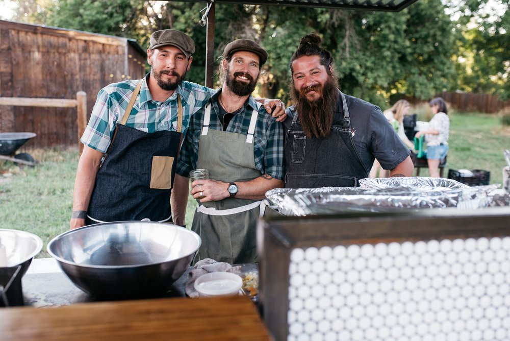 The crew of The Tramp About at the Fortified Collaborations Three Forks Progressive Farm Dinner. Event photography by Sonja Salzburg of Sonja K Photography.