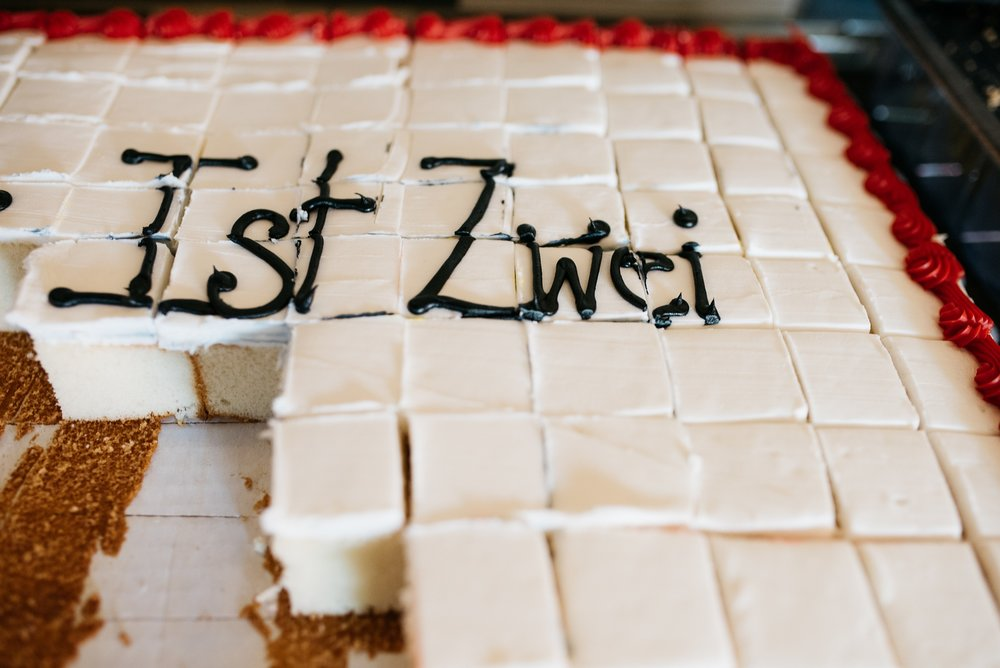 The cake from Zwei Brewing's 2nd Anniversary party, Zwei Ist Zwei. Event photography by Sonja Salzburg of Sonja K Photography.