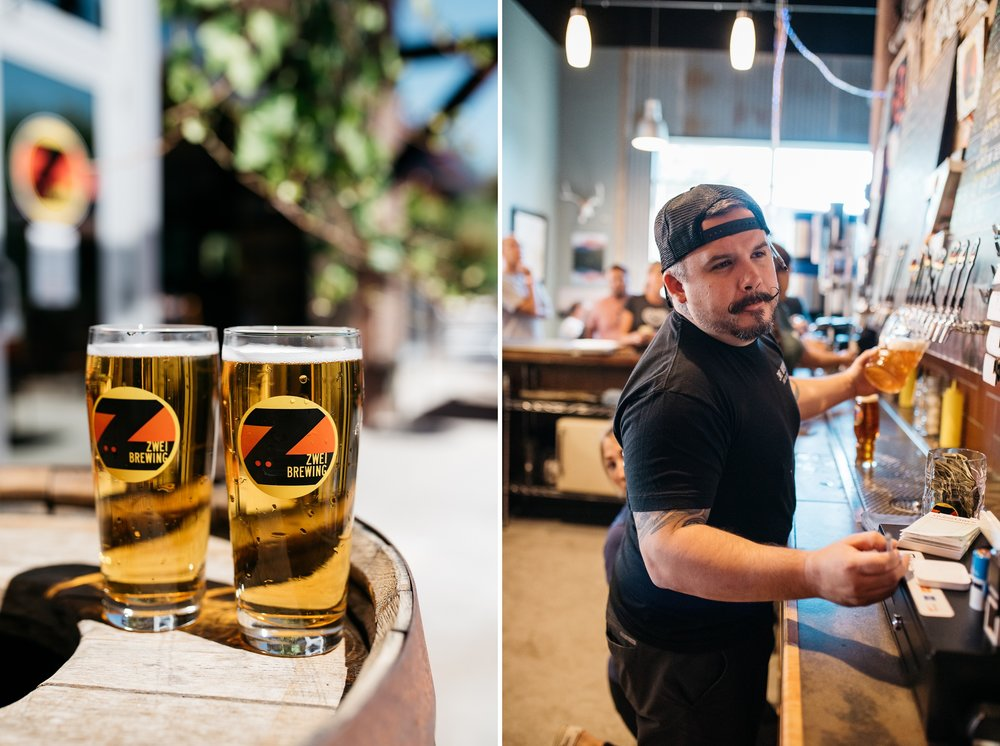 German-style beer and a bartender from Zwei Brewing in Fort Collins, Colorado. Event and product photography by Sonja Salzburg of Sonja K Photography.