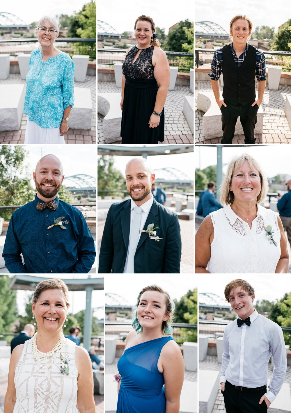 Head shots of the bridal party at a wedding at Confluence Park in Denver, Colorado. Wedding photography by Sonja Salzburg of Sonja K Photography.