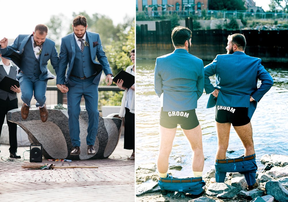 The grooms jump over a broom and show off their custom underwear at Confluence Park in Denver, Colorado. Wedding photography by Sonja Salzburg of Sonja K Photography.