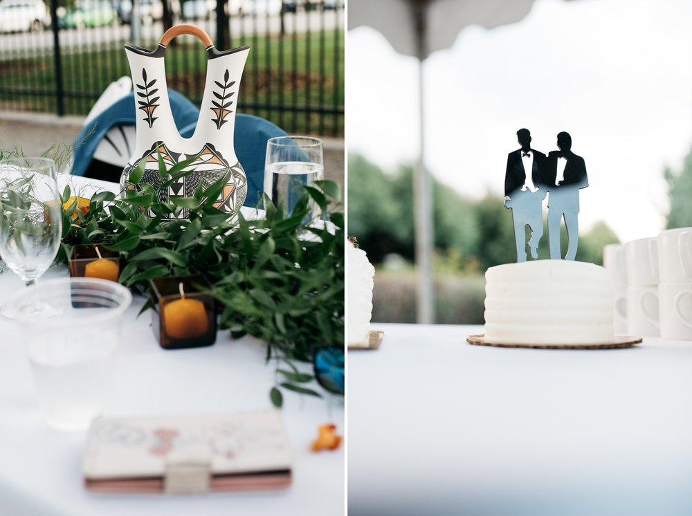 Detail shots from a wedding reception at Centennial Gardens in Denver, Colorado. Wedding photography by Sonja Salzburg of Sonja K Photography.