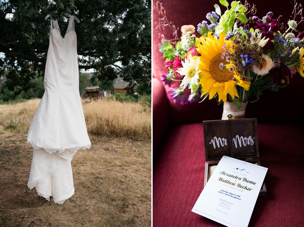 A wedding dress and bouquet of flowers at a wedding at Sylvan Dale Guest Ranch near Loveland, Colorado. Wedding photography by Sonja Salzburg of Sonja K Photography.