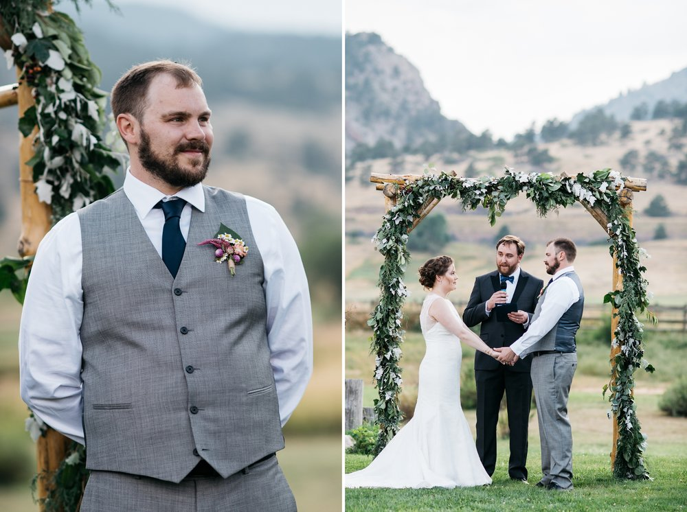 The groom watches as the bride makes her entrance at a wedding at Sylvan Dale Guest Ranch near Loveland, Colorado. Wedding photography by Sonja Salzburg of Sonja K Photography.