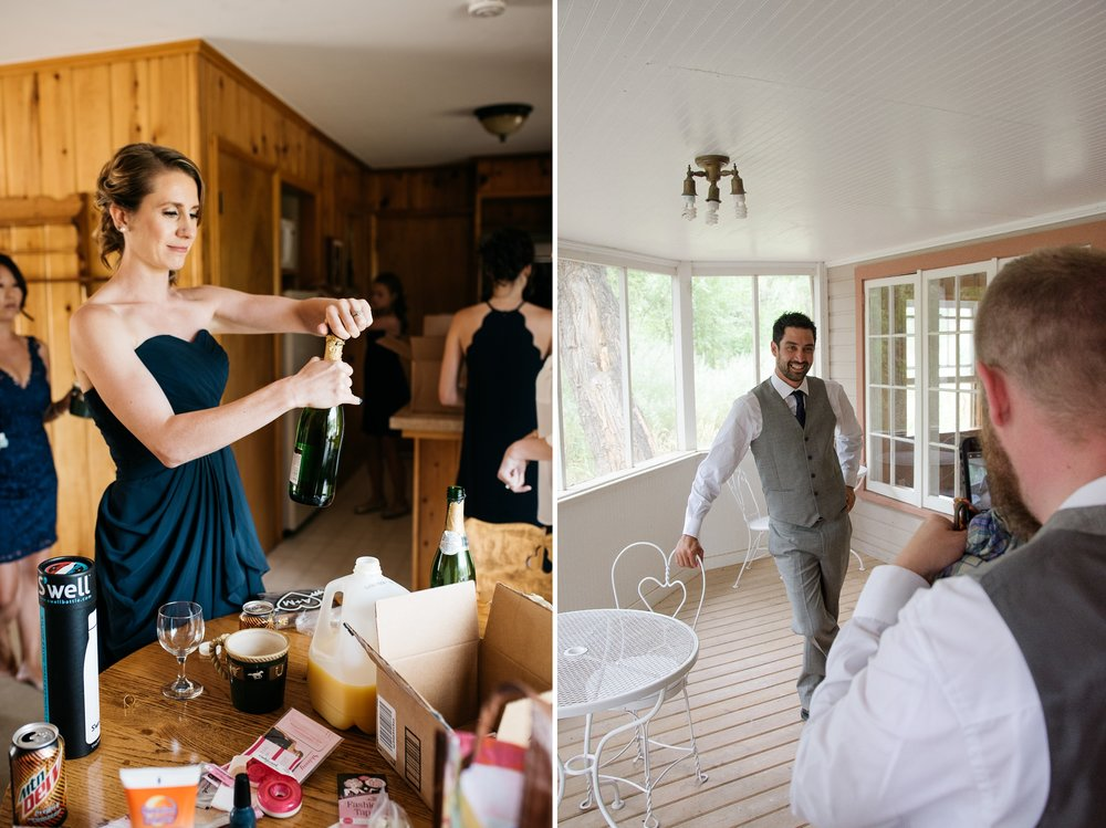 A bridesmaid and a groomsman get ready for a wedding at Sylvan Dale Guest Ranch outside of Loveland, Colorado. Wedding photography by Sonja Salzburg of Sonja K Photography.