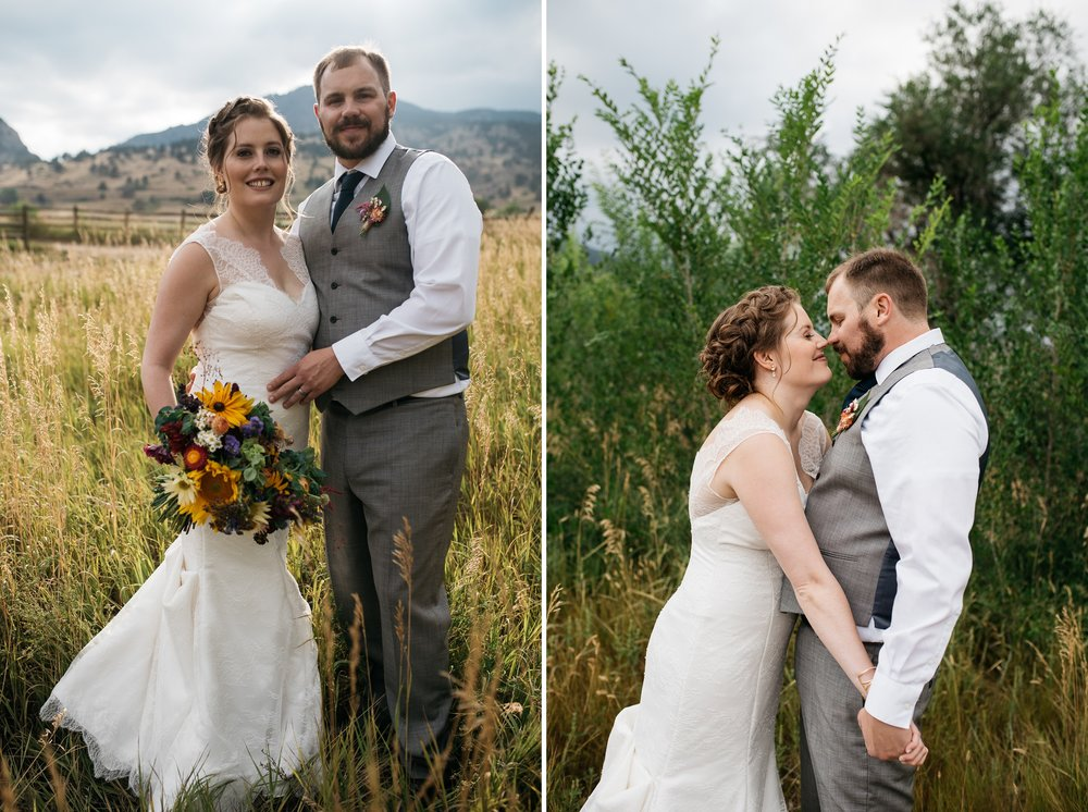 A bride and groom on their wedding day at Sylvan Dale Guest Ranch near Loveland, Colorado. Wedding photography by Sonja Salzburg of Sonja K Photography.