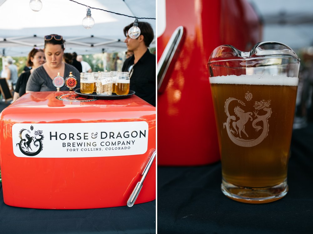 Beer from Horse and Dragon Brewing Company is poured at the Fortified Collaborations Mishawaka 100 Year Harvest Dinner at Grant Farms CSA outside of Fort Collins, Colorado. Event photography by Sonja Salzburg of Sonja K Photography.