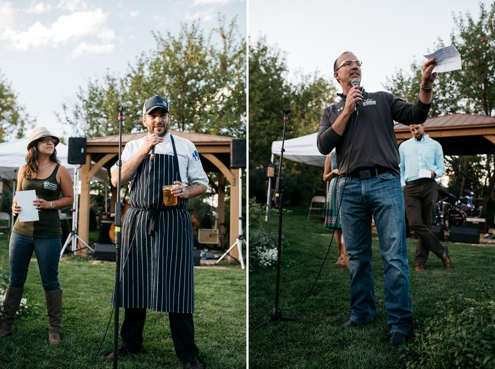 Speeches are given about the food, beer, and community at the Fortified Collaborations Mishawaka 100 Year Harvest Dinner at Grant Farms CSA near Fort Collins, Colorado. Event photography by Sonja Salzburg of Sonja K Photography.