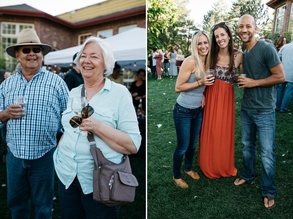 Happy attendees at the Fortified Collaborations Mishawaka 100 Year Harvest Dinner at Grant Farms CSA outside Fort Collins, Colorado. Event photography by Sonja Salzburg of Sonja K Photography.