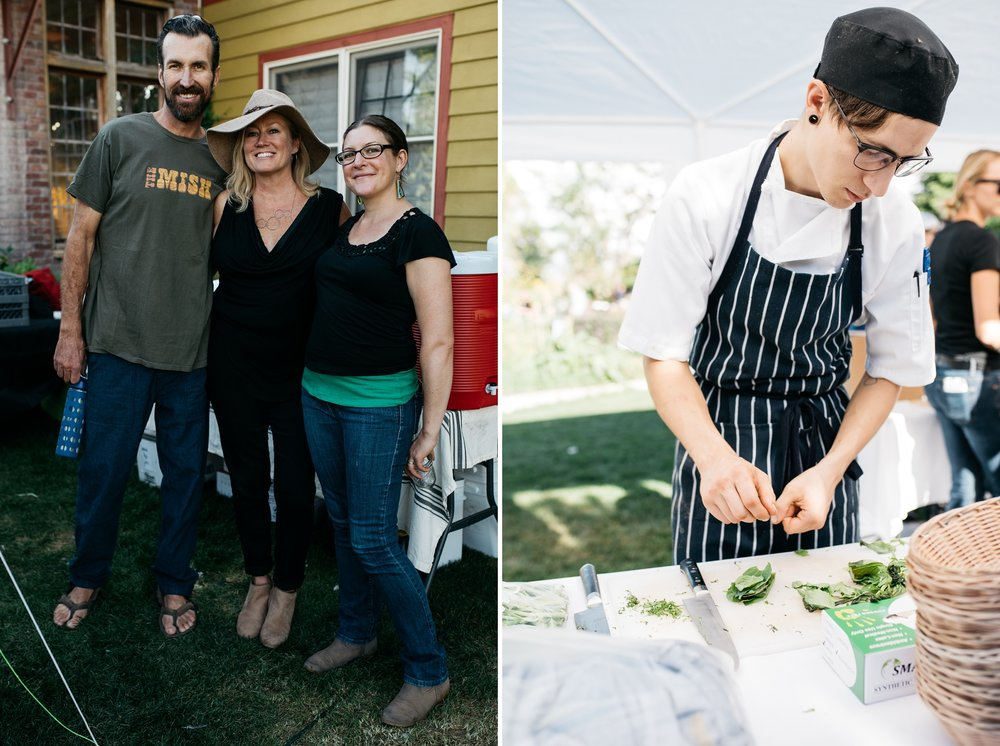 John, Kristina, and Malia and a chef from The Kitchen at the Fortified Collaborations Mishawaka 100 Year Harvest Dinner at Grant Farms CSA outside Fort Collins, Colorado. Event photography by Sonja Salzburg of Sonja K Photography,