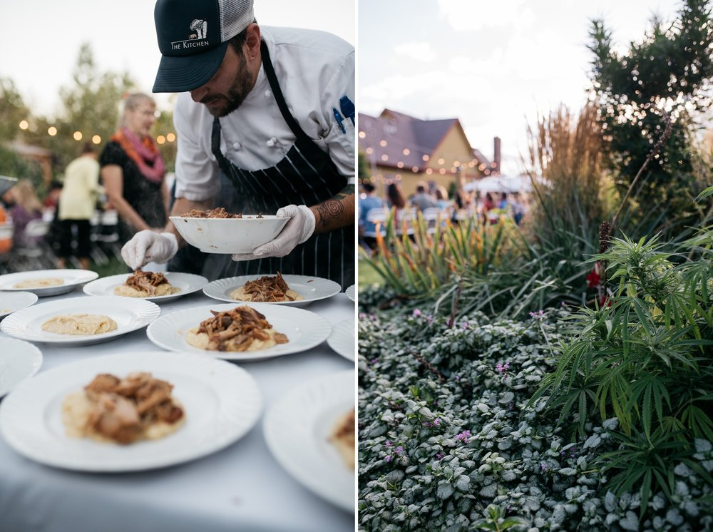 A chef from The Kitchen prepares food at the Fortified Collaborations Mishawaka 100 Year Harvest Dinner at Grant Farms CSA near Fort Collins, Colorado.