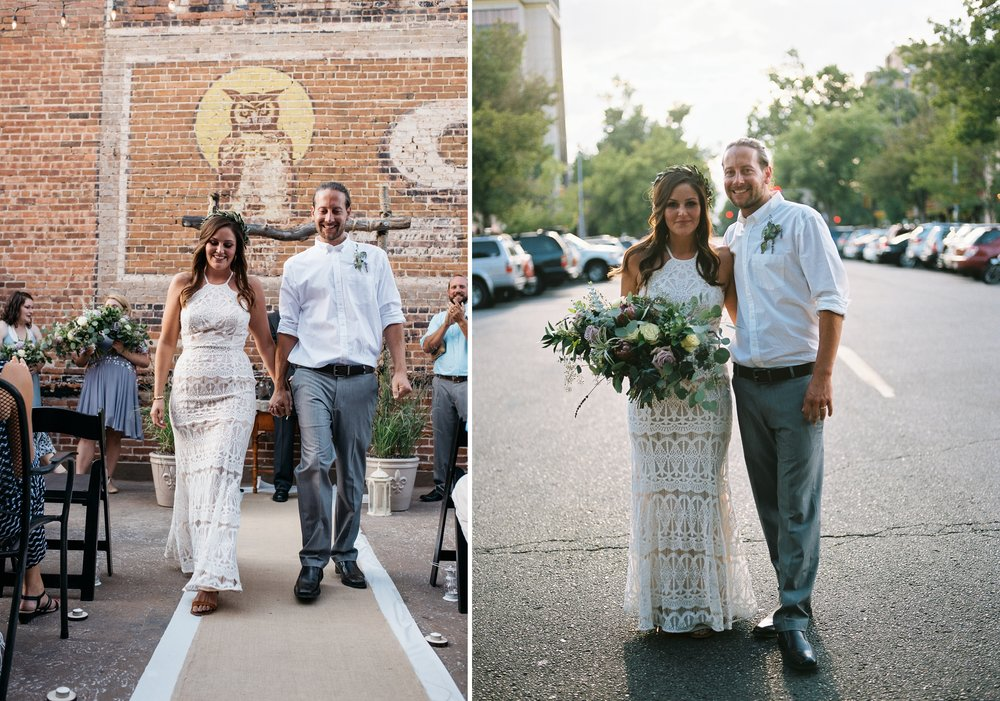 A newly married couple at their outdoor Colorado wedding in Old Town Fort Collins. Wedding photography by Sonja Salzburg of Sonja K Photography.