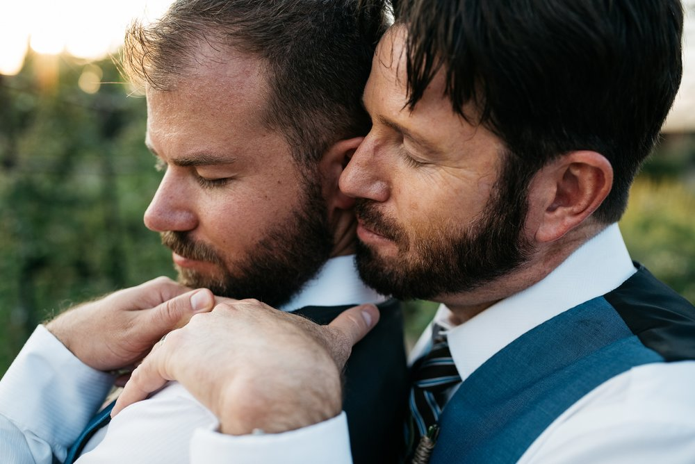 Weston and Karl on their wedding day. Gay wedding photography by Sonja Salzburg of Sonja K Photography.