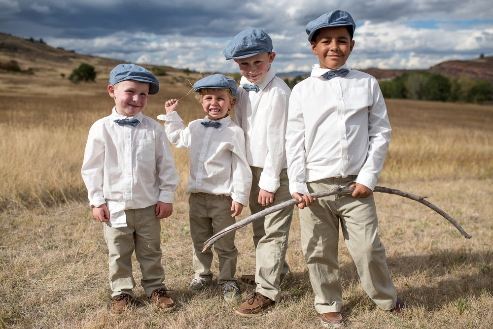 Children of the bridal party at a wedding at Soldier Canyon at Lory State Park in Fort Collins, Colorado. Wedding photography by Sonja Salzburg of Sonja K Photography.