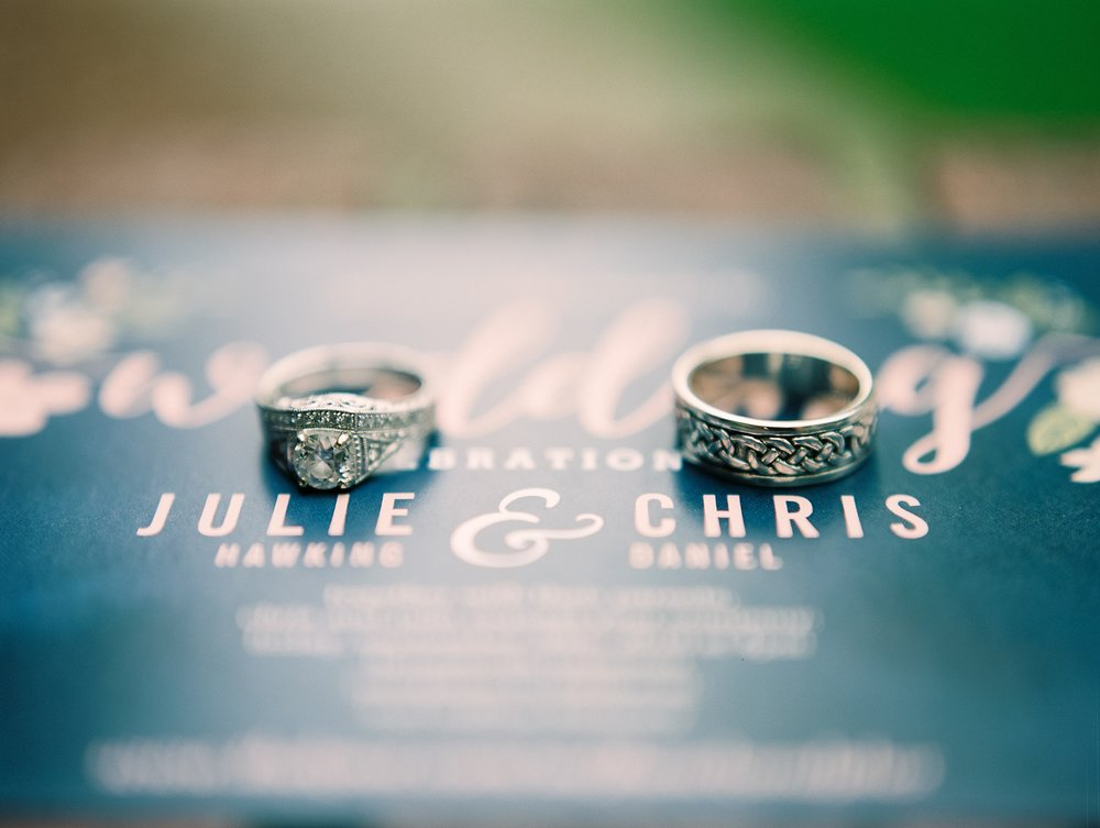 Wedding rings shine in the warm sun at an outdoor Colorado wedding. Wedding photography by Sonja Salzburg of Sonja K Photography.