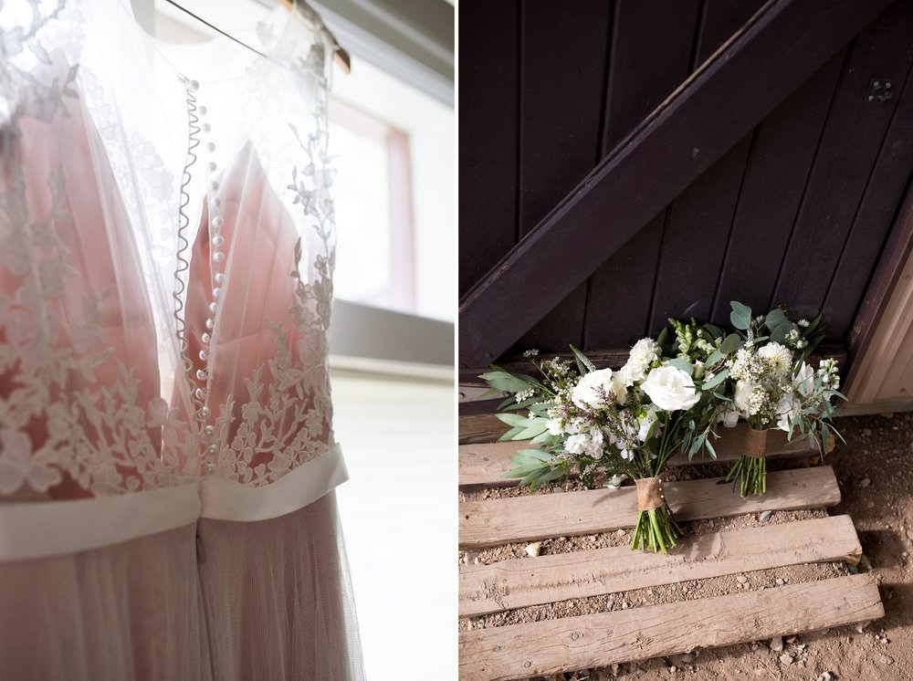 A wedding dress hangs in the warm summer sun. Bouquets of white roses before a Colorado mountain wedding. Wedding photography by Sonja Salzburg of Sonja K Photography.