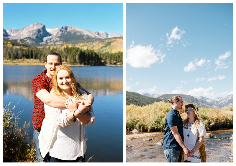 Daniel and Stephanie at Sprague Lake in Rocky Mountain National Park in Colorado. Engagement photography by Sonja Salzburg of Sonja K Photography.
