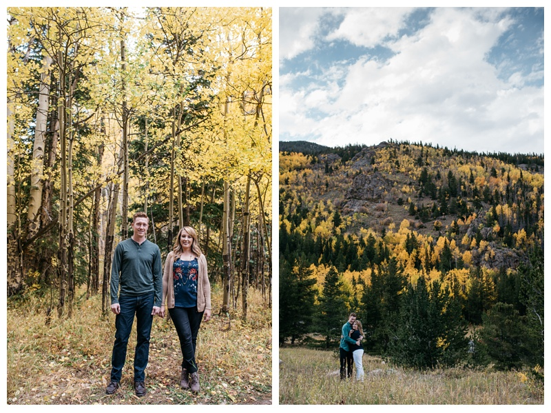 A newly engaged couple on a warm fall day in Rocky Mountain National Park in Colorado. Engagement photography by Sonja Salzburg of Sonja K Photography.