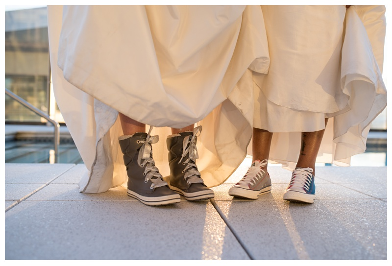 Custom shoes at a lesbian wedding at Spire Denver, Colorado. Wedding photography by Sonja Salzburg of Sonja K Photography.