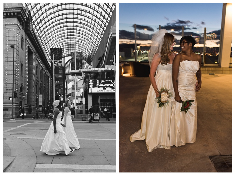 Ali and Kinya on their wedding day in downtown Denver, Colorado. Wedding photography by Sonja Salzburg of Sonja K Photography.