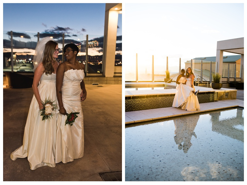Ali and Kinya at the pool on their wedding day at SPIRE Denver in Colorado. Wedding photography by Sonja Salzburg of Sonja K Photography.