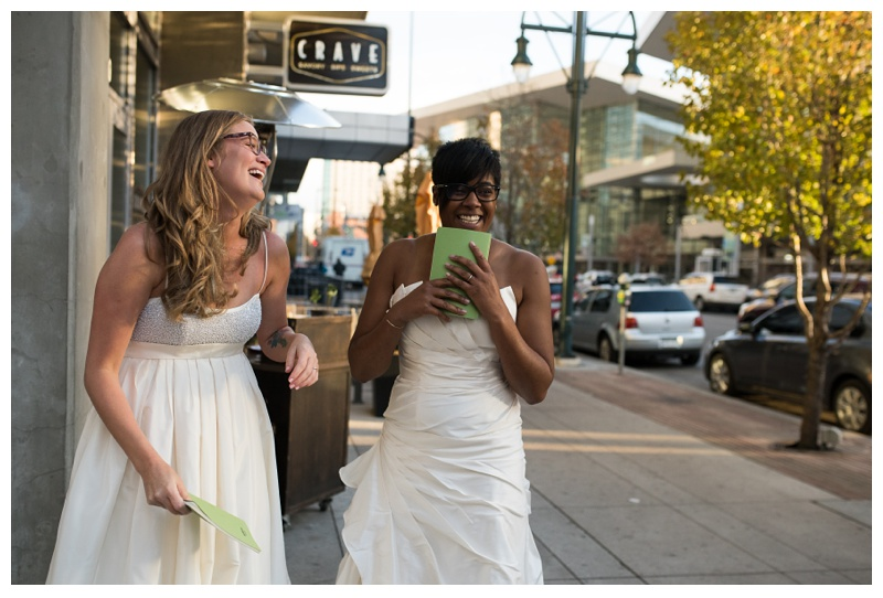 Ali and Kinya just after the reveal in Denver, Colorado. Wedding photography by Sonja Salzburg of Sonja K Photography.