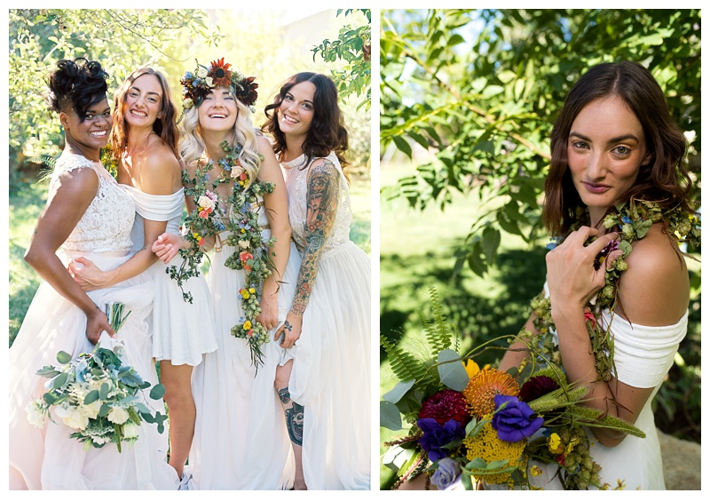 Four brides in a styled shoot in Fort Collins, Colorado. Wedding fashion portrait photography by Sonja Salzburg of Sonja K Photography.