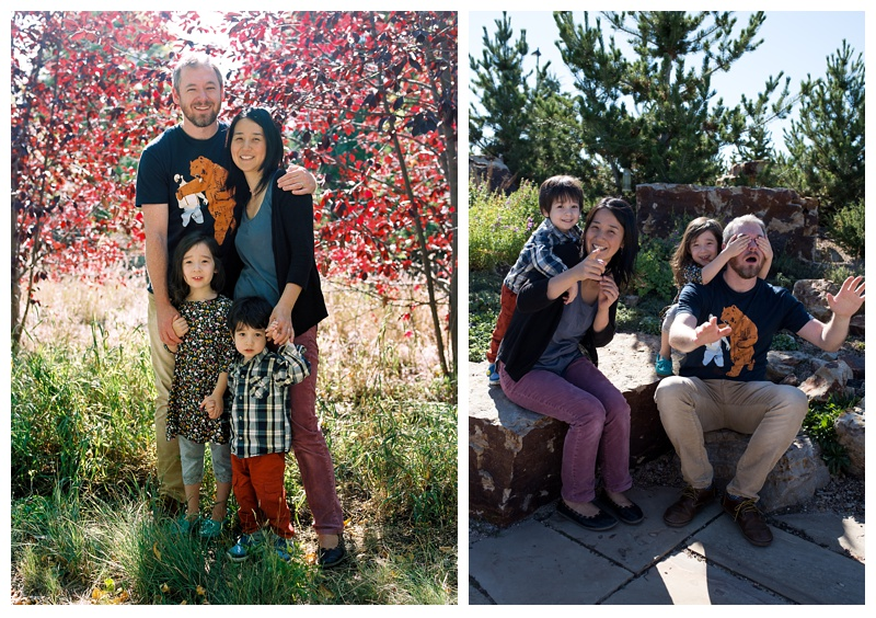 An adorable family at the Gardens on Spring Creek in Fort Collins, Colorado. Family portrait photography by Sonja Salzburg of Sonja K Photography.