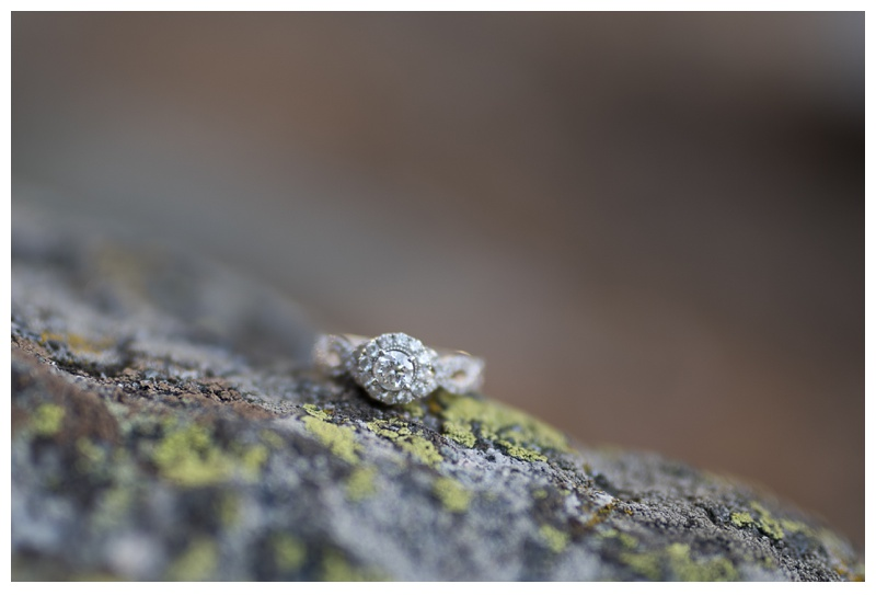 An engagement ring from a couple in Rocky Mountain National Park in Colorado. Engagement photography by Sonja Salzburg of Sonja K Photography.
