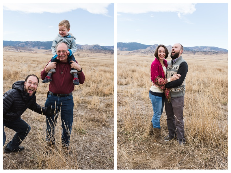 Funny out takes from the Birmingham Family at Reservoir Ridge Open Space in Fort Collins, Colorado. Family portrait photography by Sonja Salzburg of Sonja K Photography.