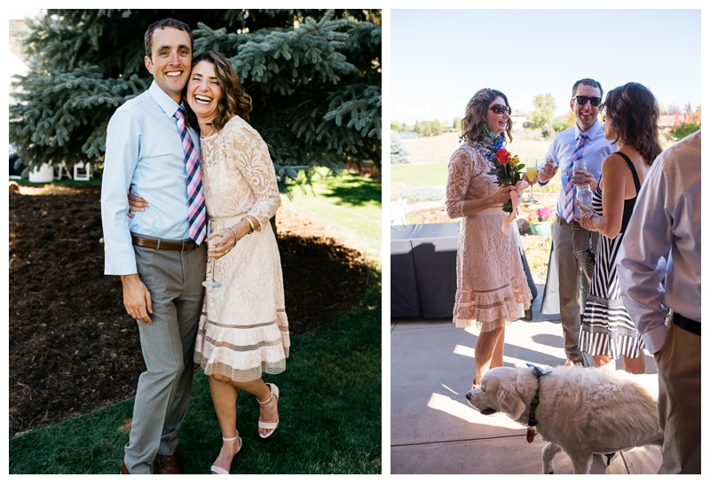 A happy couple on their outdoor wedding day in Fort Collins, Colorado.  Wedding photography by Sonja Salzburg of Sonja K Photography.