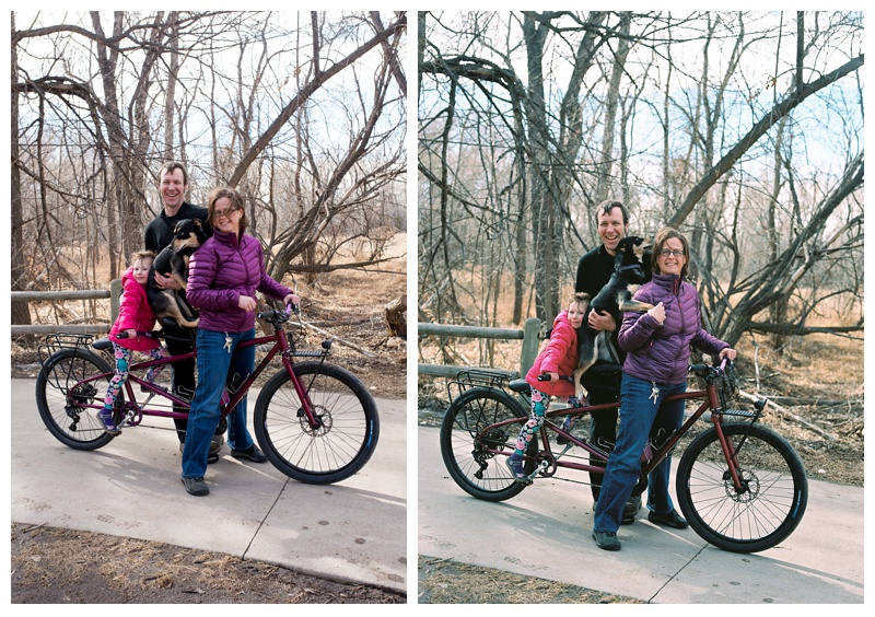 The Pinney Family with their Kelpie Cycles tandem bicycle. Family portrait photography by Sonja Salzburg of Sonja K Photography.