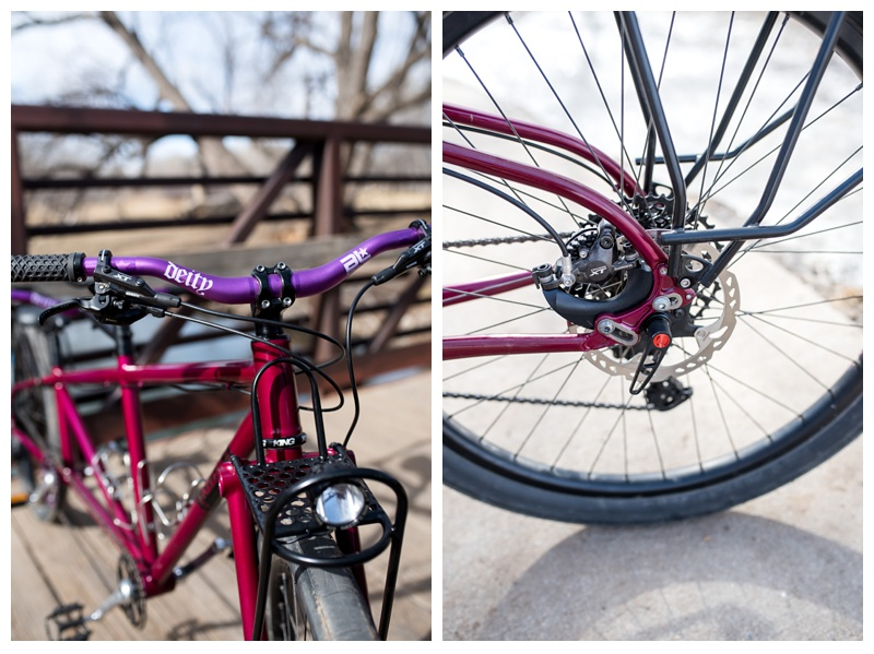 Components of a hand built bicycle from Kelpie Cycles in Lee Martinez Park in Fort Collins, Colorado. Product photography by Sonja Salzburg of Sonja K Photography.