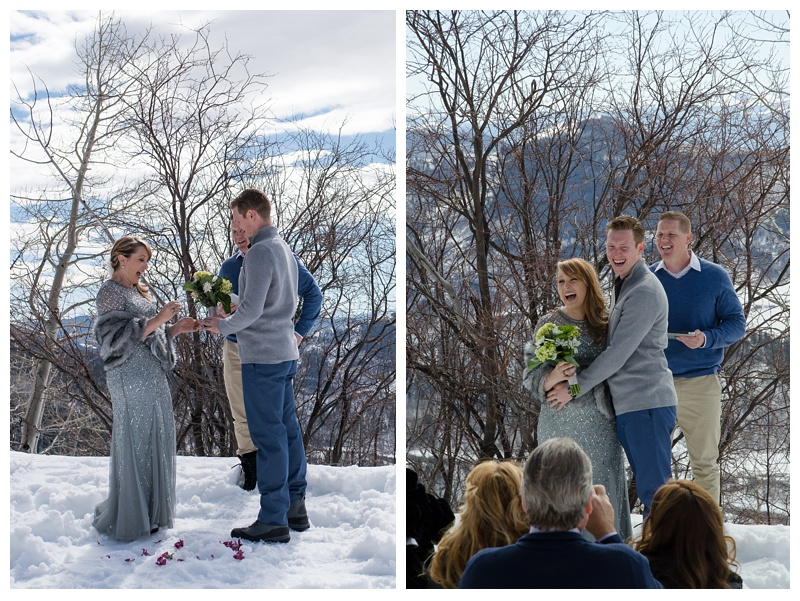 An intimate wedding ceremony on Rabbit Ears Pass outside of Steamboat Springs, Colorado. Wedding photography by Sonja Salzburg of Sonja K Photography.