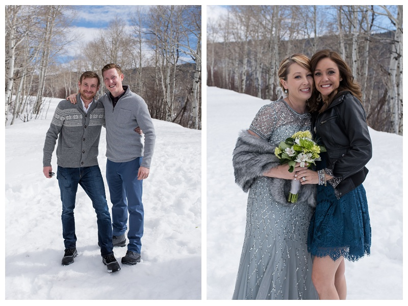 A bride and groom with their siblings at a winter wedding at Rabbit Ears Pass outside of Steamboat Springs, Colorado. Wedding photography by Sonja Salzburg of Sonja K Photography.