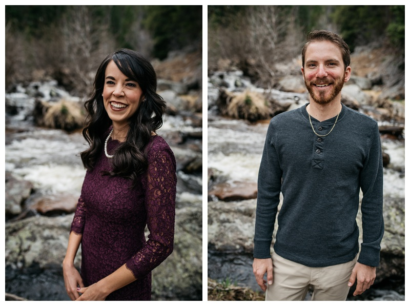 Head shots of an engagement at Rocky Mountain National Park in Colorado. Wedding engagement photography by Sonja Salzburg of Sonja K Photography.