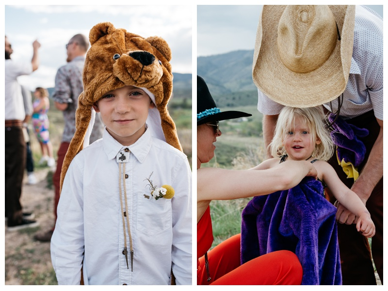 "The ""Ring Bears"" get ready to do their duties at a wedding at Bingham Hill outside of Fort Collins, Colorado. Wedding photography by Sonja Salzburg of Sonja K Photography."