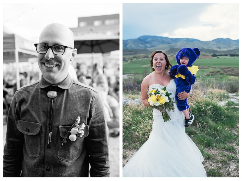 "Justin and Katie with the ""Ring Bear"" at their wedding at Bingham Hill outside of Fort Collins, Colorado. Outdoor wedding photography by Sonja Salzburg of Sonja K Photography."