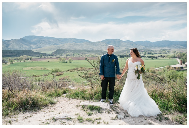 Katie and Justin on their wedding day at Bingham Hill outside Fort Collins, Colorado. Wedding photography by Sonja Salzburg of Sonja K Photography.