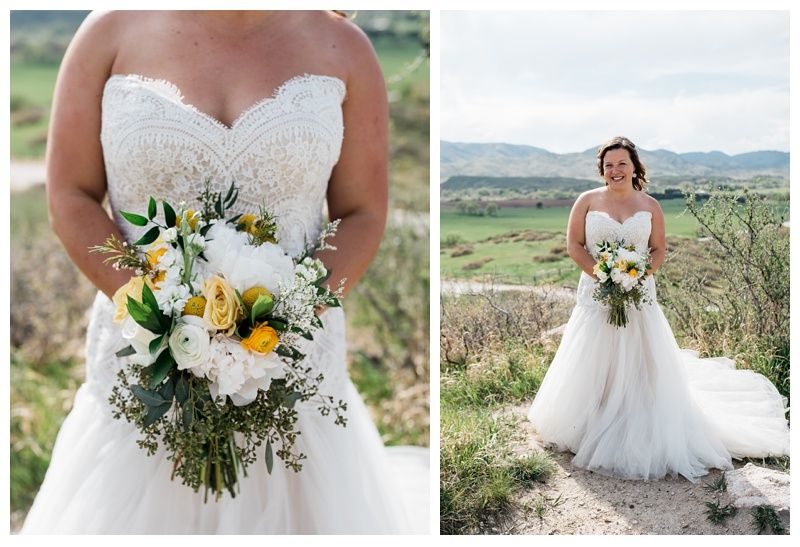 A bride on her wedding say at Bingham Hill outside of Fort Collins, Colorado. Wedding photography by Sonja Salzburg of Sonja  K Photography.